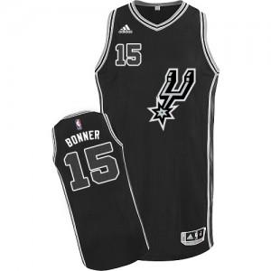 Maillot NBA Noir Matt Bonner #15 San Antonio Spurs New Road Authentic Homme Adidas