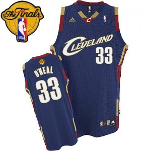 Maillot NBA Cleveland Cavaliers #33 Shaquille O'Neal Bleu marin Adidas Swingman Throwback 2015 The Finals Patch - Homme