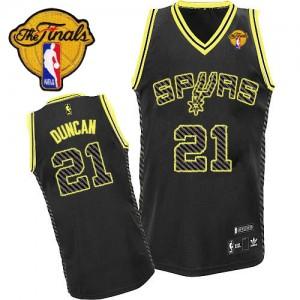 Maillot NBA Authentic Tim Duncan #21 San Antonio Spurs Electricity Fashion Finals Patch Noir - Homme