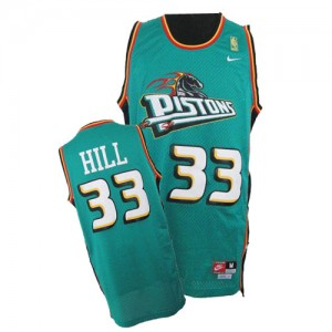 Maillot Authentic Detroit Pistons NBA Throwback Vert - #33 Grant Hill - Homme