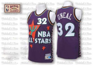 Maillot NBA Violet Shaquille O'Neal #32 Orlando Magic Throwback 1995 All Star Authentic Homme Adidas
