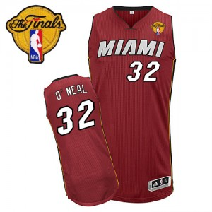 Maillot Adidas Rouge Alternate Finals Patch Authentic Miami Heat - Shaquille O'Neal #32 - Homme