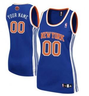 New York Knicks Authentic Personnalisé Road Maillot d'équipe de NBA - Bleu royal pour Femme