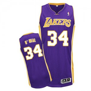 Maillot Authentic Los Angeles Lakers NBA Road Violet - #34 Shaquille O'Neal - Homme