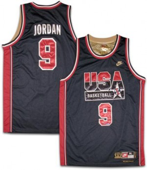 Team USA #9 Nike No. d'or Blanc Authentic Maillot d'équipe de NBA Braderie - Michael Jordan pour Homme