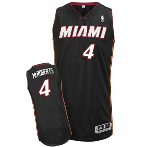 Maillot Authentic Miami Heat NBA Road Noir - #4 Josh McRoberts - Homme