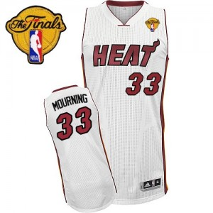 Maillot NBA Miami Heat #33 Alonzo Mourning Blanc Adidas Authentic Home Finals Patch - Homme