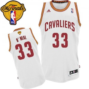 Maillot NBA Cleveland Cavaliers #33 Shaquille O'Neal Blanc Adidas Swingman Home 2015 The Finals Patch - Homme