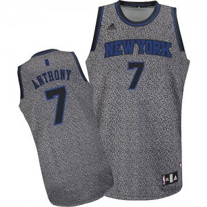 Maillot NBA Gris Carmelo Anthony #7 New York Knicks Static Fashion Swingman Homme Adidas