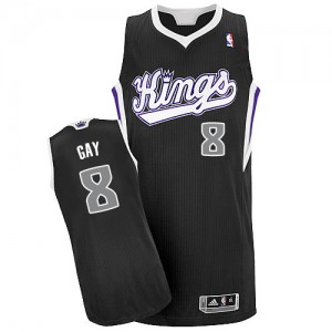 Maillot NBA Noir Rudy Gay #8 Sacramento Kings Alternate Authentic Homme Adidas