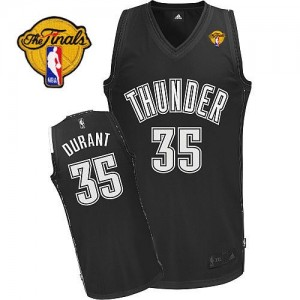 Maillot NBA Authentic Kevin Durant #35 Oklahoma City Thunder Shadow Finals Patch Noir - Homme