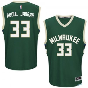 Maillot NBA Milwaukee Bucks #33 Kareem Abdul-Jabbar Vert Adidas Authentic Road - Homme