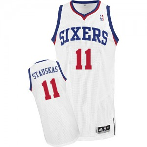 Maillot NBA Authentic Nik Stauskas #11 Philadelphia 76ers Home Blanc - Homme