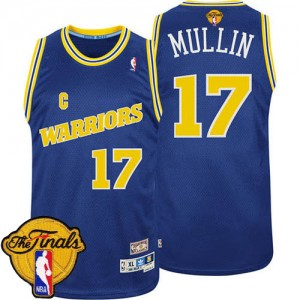 Maillot Adidas Bleu Throwback 2015 The Finals Patch Authentic Golden State Warriors - Chris Mullin #17 - Homme