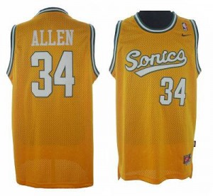 Oklahoma City Thunder #34 Adidas SuperSonics Jaune Authentic Maillot d'équipe de NBA Peu co?teux - Ray Allen pour Homme