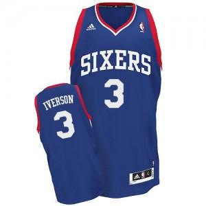 Philadelphia 76ers #3 Adidas Alternate Bleu royal Swingman Maillot d'équipe de NBA Braderie - Allen Iverson pour Homme