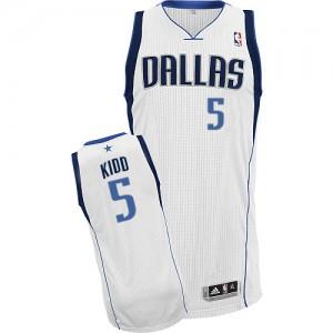 Maillot Authentic Dallas Mavericks NBA Home Blanc - #5 Jason Kidd - Homme