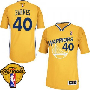 Maillot NBA Golden State Warriors #40 Harrison Barnes Or Adidas Authentic Alternate 2015 The Finals Patch - Homme