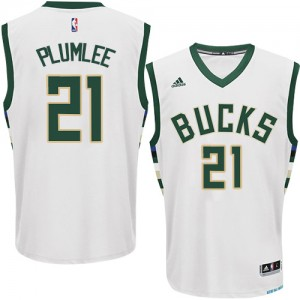 Maillot NBA Milwaukee Bucks #21 Miles Plumlee Blanc Adidas Authentic Home - Homme