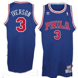 Philadelphia 76ers #3 Adidas Throwack Bleu / Rouge Swingman Maillot d'équipe de NBA en soldes - Allen Iverson pour Homme