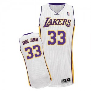Maillot Authentic Los Angeles Lakers NBA Alternate Blanc - #33 Kareem Abdul-Jabbar - Homme