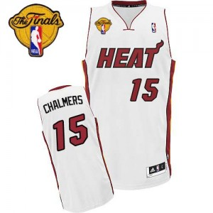 Maillot Adidas Blanc Home Finals Patch Swingman Miami Heat - Mario Chalmers #15 - Homme