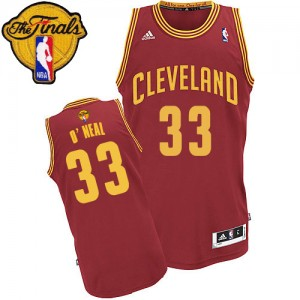 Maillot NBA Cleveland Cavaliers #33 Shaquille O'Neal Vin Rouge Adidas Swingman Road 2015 The Finals Patch - Homme
