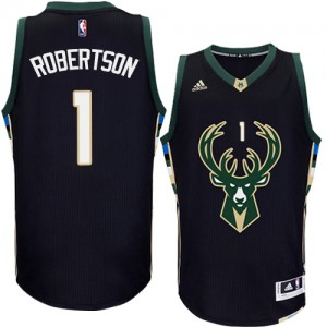 Maillot NBA Noir Oscar Robertson #1 Milwaukee Bucks Alternate Authentic Homme Adidas