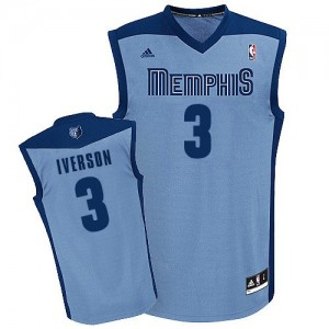 Maillot Adidas Bleu clair Alternate Swingman Memphis Grizzlies - Allen Iverson #3 - Homme