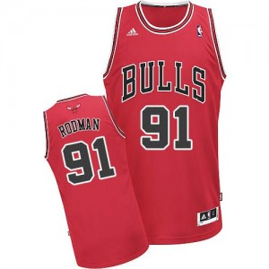 Maillot NBA Chicago Bulls #91 Dennis Rodman Rouge Adidas Swingman Road - Homme