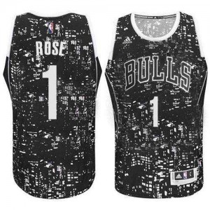 Maillot NBA Chicago Bulls #1 Derrick Rose Noir Adidas Authentic City Light - Homme