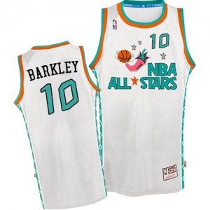 Maillot NBA Phoenix Suns #10 Charles Barkley Blanc Mitchell and Ness Swingman Throwback 1996 All Star - Homme