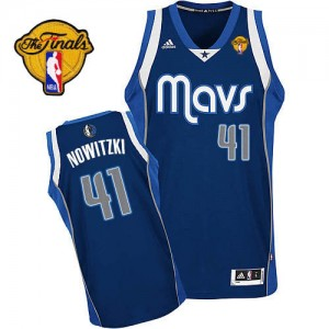 Dallas Mavericks #41 Adidas Alternate Finals Patch Bleu marin Swingman Maillot d'équipe de NBA boutique en ligne - Dirk Nowitzki pour Homme