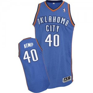 Oklahoma City Thunder Shawn Kemp #40 Road Authentic Maillot d'équipe de NBA - Bleu royal pour Homme