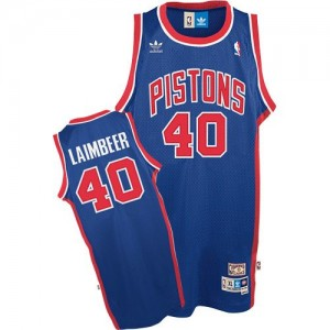 Maillot NBA Bleu Bill Laimbeer #40 Detroit Pistons Throwback Authentic Homme Adidas