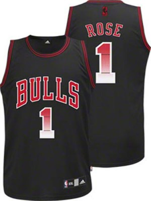 Maillot NBA Noir Derrick Rose #1 Chicago Bulls Vibe Authentic Homme Adidas