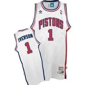 Maillot NBA Detroit Pistons #1 Allen Iverson Blanc Adidas Authentic Throwback - Homme