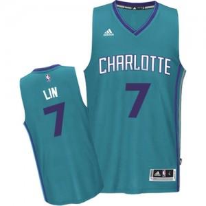 Charlotte Hornets Jeremy Lin #7 Road Swingman Maillot d'équipe de NBA - Bleu clair pour Homme