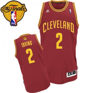 Maillot NBA Cleveland Cavaliers #2 Kyrie Irving Vin Rouge Adidas Swingman Road 2015 The Finals Patch - Homme
