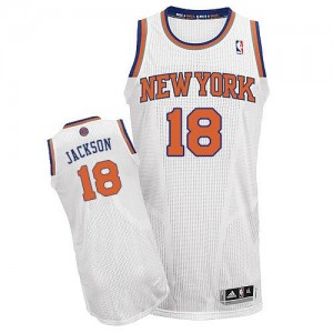 Maillot Authentic New York Knicks NBA Home Blanc - #18 Phil Jackson - Homme