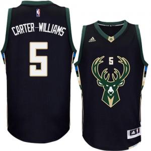Maillot NBA Milwaukee Bucks #5 Michael Carter-Williams Noir Adidas Authentic Alternate - Homme