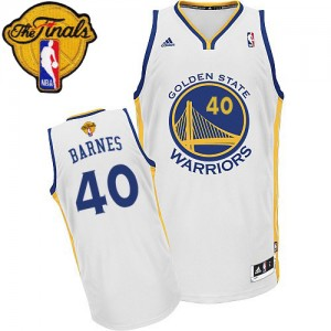 Maillot NBA Golden State Warriors #40 Harrison Barnes Blanc Adidas Swingman Home 2015 The Finals Patch - Homme