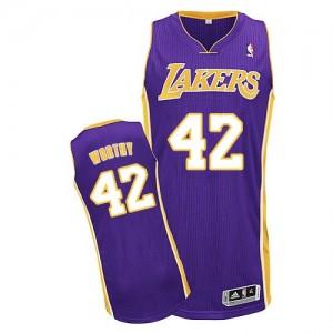 Los Angeles Lakers #42 Adidas Road Violet Authentic Maillot d'équipe de NBA préférentiel - James Worthy pour Homme