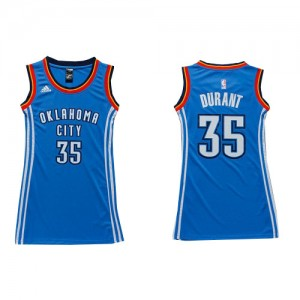 Maillot NBA Bleu royal Kevin Durant #35 Oklahoma City Thunder Dress Authentic Femme Adidas