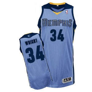 Maillot Adidas Bleu clair Alternate Authentic Memphis Grizzlies - Brandan Wright #34 - Homme