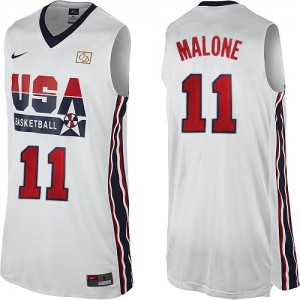 Maillot Nike Blanc 2012 Olympic Retro Authentic Team USA - Karl Malone #11 - Homme