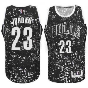Chicago Bulls Michael Jordan #23 City Light Swingman Maillot d'équipe de NBA - Noir pour Homme