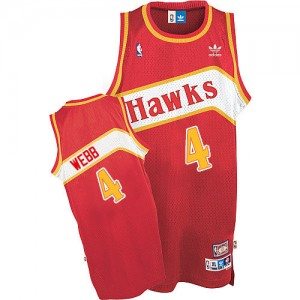 Maillot Authentic Atlanta Hawks NBA Throwback Rouge - #4 Spud Webb - Homme
