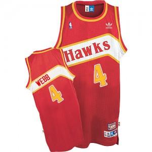 Maillot Authentic Atlanta Hawks NBA Throwback Rouge - #4 Spud Webb - Homme