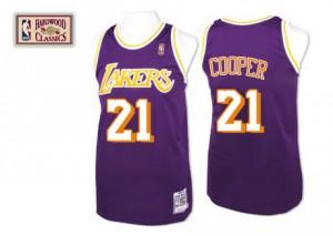 Los Angeles Lakers #21 Mitchell and Ness Throwback Violet Authentic Maillot d'équipe de NBA Vente pas cher - Michael Cooper pour Homme